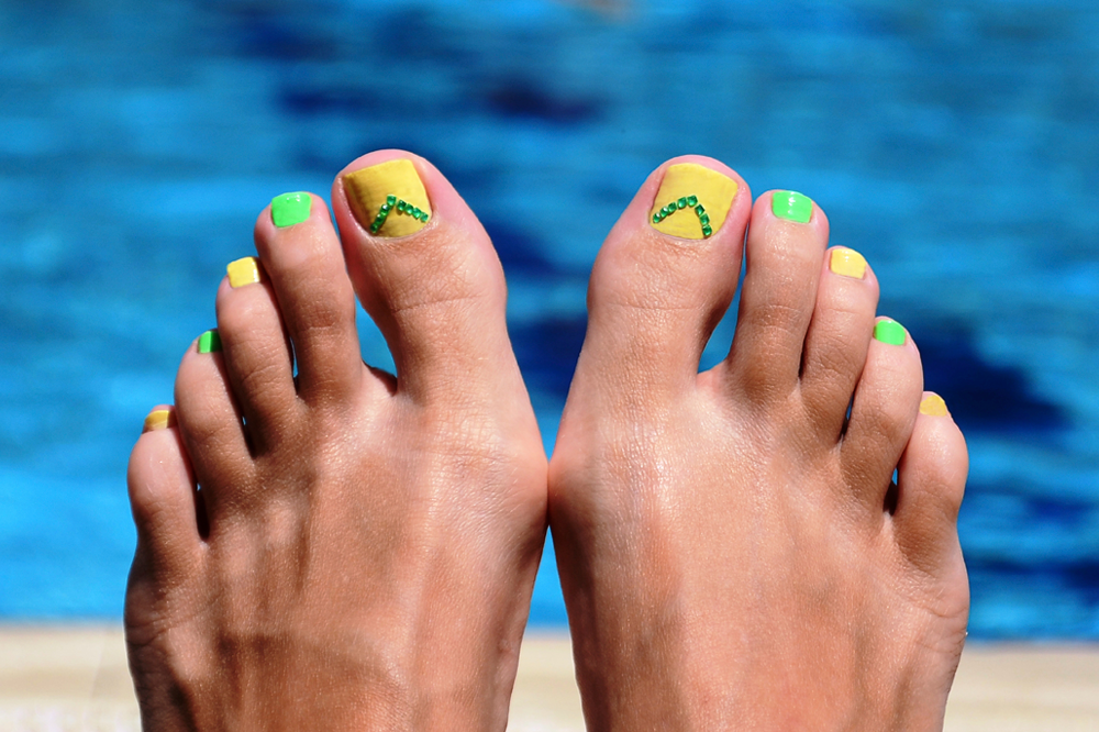 Green and Yellow Jeweled Pedicure