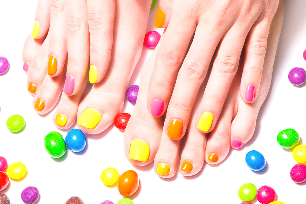 Bright Rainbow Pedicure and Manicure
