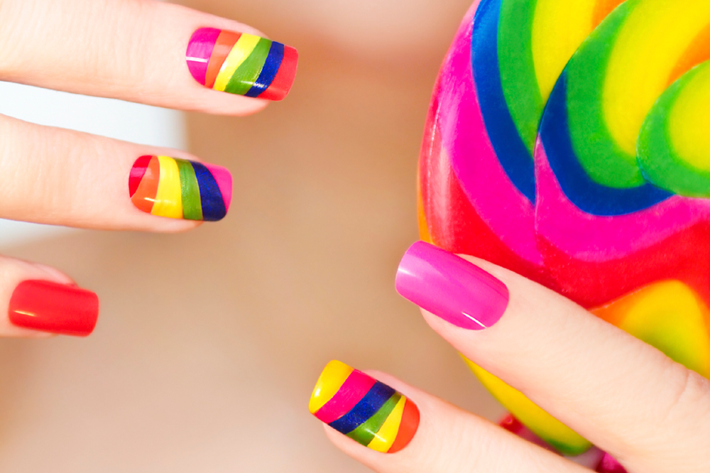 Rainbow Nail Art Done With Scotch Tape